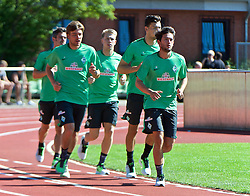 01.07.2015, Weserstadion, Bremen, GER, 1. FBL, SV Werder Bremen, Trainingsauftakt, im Bild von vorne, Julian von Haacke (SV Werder Bremen #26), Lukas Froede / Fröde (SV Werder Bremen #39), Clemens Fritz (SV Werder Bremen #8), Janek Sternberg (SV Werder Bremen #37) und Fin Bartels (SV Werder Bremen #22) beim Laktattest // during a Trainingssession of German Bundesliga Club SV Werder Bremen at the Weserstadion in Bremen, Germany on 2015/07/01. EXPA Pictures © 2015, PhotoCredit: EXPA/ Andreas Gumz<br /> <br /> *****ATTENTION - OUT of GER*****