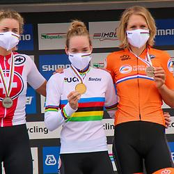 26-09-2020: wielrennen: WK weg vrouwen: Imola<br /> Anna van der Breggen (Netherlands) takes the time trail world title. Silver Marlen Reusser (Switzerland) and bronze Ellen van Dijk (Netherlands)