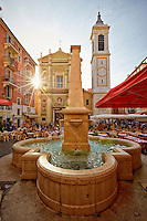 View of the Cathédrale Sainte-Réparate and Rosetti Fountain found in Old Town Nice, France.