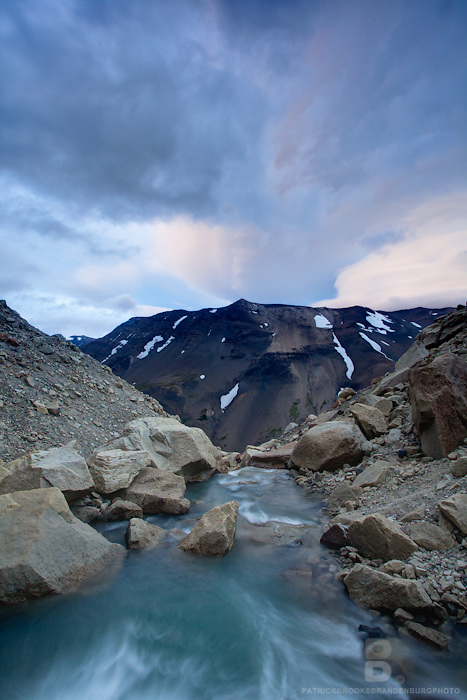 A river facing sundown in Torres del Paine National Park in Patagonia, Chile.