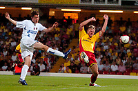 Photo: Ed Godden.<br /> Watford v Inter Milan. Pre Season Friendly. 08/08/2006.<br /> Goran Slavkovski shoots past Watford player, Jay DeMerit.