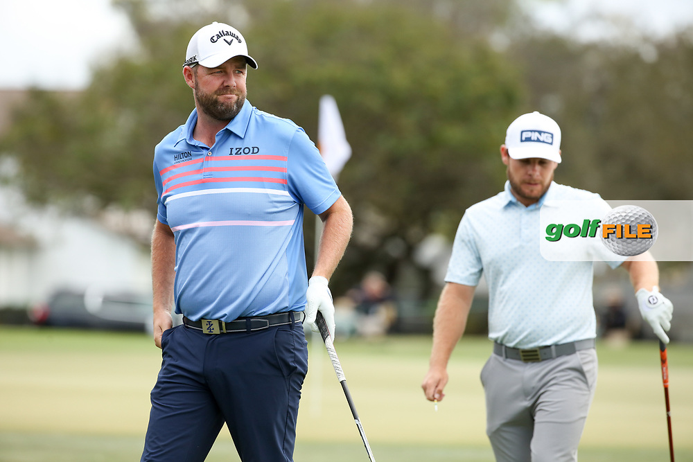 Marc Leishman (AUS) and Tyrrell Hatton (ENG) during the final round of the Arnold Palmer Invitational presented by Mastercard, Bay Hill, Orlando, Florida, USA. 08/03/2020.<br /> Picture: Golffile   Scott Halleran<br /> <br /> <br /> All photo usage must carry mandatory copyright credit (© Golffile   Scott Halleran)