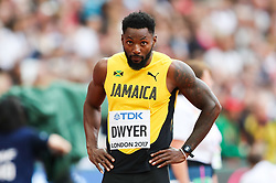 London, 2017 August 07. Rasheed Dwyer, Jamaica awaits the start of his men's 200m heats on day four of the IAAF London 2017 world Championships at the London Stadium. © Paul Davey.