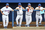 09 June 2012: Florida head coach Kevin O'Sullivan (2nd from left) with assistant coaches Brad Weitzel (42), Craig Bell (33), and Don Norris. The University of Florida Gators defeated the North Carolina State University Wolfpack 7-1 at Alfred A. McKethan Stadum in Gainesville, Florida in Game 1 of their NCAA College Baseball Super Regional series.