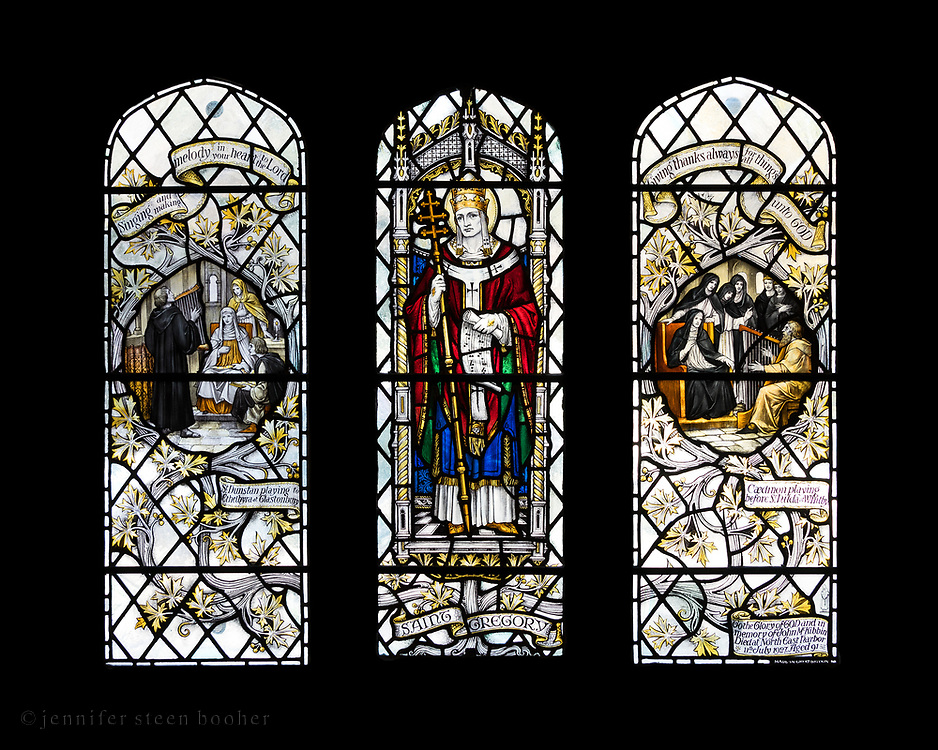 """St. Dunstan playing to Ethelbyra at Glastonbury; St. Gregory; Caedmon playing before St. Hilda at Whitby.<br /> <br /> Window 6 on plan. 55"""" w x 48.5"""" h. inc. wood frame. <br /> <br /> Saint Mary's by-the-Sea, Northeast Harbor, Maine."""