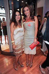 Left to right, SYLVIA BOURNE and ELLA KRASNER at a party to celebrate the B.zero 1 design by Anish Kapoor held at Bulgari, 168 New Bond Street, London n 2nd June 2010.