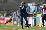 Gareth Ainsworth, the Wycombe Wanderers manager shouting from the dugout. Skybet football league two match, Wycombe Wanderers  v Stevenage Town at Adams Park  in High Wycombe, Buckinghamshire on Saturday 12th March 2016.<br /> pic by John Patrick Fletcher, Andrew Orchard sports photography.