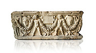 Roman relief sculpted garland sarcophagus with cherubs, 3rd century AD. Adana Archaeology Museum, Turkey. Against a white background .<br /> <br /> If you prefer to buy from our ALAMY STOCK LIBRARY page at https://www.alamy.com/portfolio/paul-williams-funkystock/greco-roman-sculptures.html . Type -    Adana     - into LOWER SEARCH WITHIN GALLERY box - Refine search by adding a subject, place, background colour, museum etc.<br /> <br /> Visit our ROMAN WORLD PHOTO COLLECTIONS for more photos to download or buy as wall art prints https://funkystock.photoshelter.com/gallery-collection/The-Romans-Art-Artefacts-Antiquities-Historic-Sites-Pictures-Images/C0000r2uLJJo9_s0