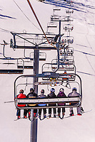 Village Express ski lift, Snowmass/Aspen ski resort, Snowmass Village (Aspen), Colorado USA.