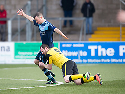 Forfar Athletic's Eddie Malone and Edinburgh City's Craig Beatie. Forfar Athletic 1 v 2 Edinburgh City, Scottish Football League Division Two played 11/3/2017 at Station Park.