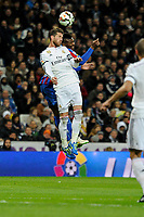 Real Madrid´s Sergio Ramos and Levante UD´s Kalu Uche during 2014-15 La Liga match between Real Madrid and Levante UD at Santiago Bernabeu stadium in Madrid, Spain. March 15, 2015. (ALTERPHOTOS/Luis Fernandez)