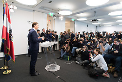 24.10.2017, Bundespartei, Wien, AUT, ÖVP, Erklärung des ÖVP-Chefs mit Angebot an die FPÖ zu Koalitionsverhandlungen. im Bild ÖVP Bundesparteiobmann Sebastian Kurz // Head of the Austrian Peoples Party Sebastian Kurz offers coalition negotiations to the austrian freedom party during an media conference of the austrian peoples party in Vienna, Austria on 2017/10/24. EXPA Pictures © 2017, PhotoCredit: EXPA/ Michael Gruber