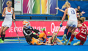 The Netherlands Joyce Sombroek saves from Ashleigh Ball of England. England v The Netherlands - Final Unibet EuroHockey Championships, Lee Valley Hockey & Tennis Centre, London, UK on 30 August 2015. Photo: Simon Parker