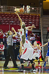 03 January 2014:  Referee Lisa Mattingly tosses up the jump ball during an NCAA women's basketball game between the Drake Bulldogs and the Illinois Sate Redbirds at Redbird Arena in Normal IL