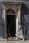 """Annemarie Plas, the founder of """"Clap For Our Carers"""", arrived at 10 Downing Street, London to clap for carers as part of the NHS birthday celebrations to salute the NHS 72nd birthday. (VXP Photo/ Vudi Xhymshiti)"""