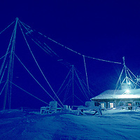 Rime coats Golomianiyy Weather Station, on Severnaya Zemlya archipeligo, start place for many polar expeditions.