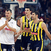 Fenerbahce Ulker's Sarunas JASIKEVICIUS (L) and Emir PRELDZIC (C), Omer ONAN (R) during their Turkish Basketball league Play Off Final fourth leg match Galatasaray between Fenerbahce Ulker at the Abdi Ipekci Arena in Istanbul Turkey on Saturday 11 June 2011. Photo by TURKPIX