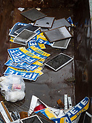 01 NOVEMBER 2019 - DES MOINES, IOWA: Pete Buttigieg yard signs in a dumpster in Des Moines. The Liberty and Justice Celebration is a fund raiser for the Iowa Democratic Party. Many of the Democratic candidates for the US presidency spoke at the 2019 Celebration. Iowa holds the first presidential selection event of the 2020 election cycle. The Iowa Caucuses are Feb. 3, 2020.            PHOTO BY JACK KURTZ