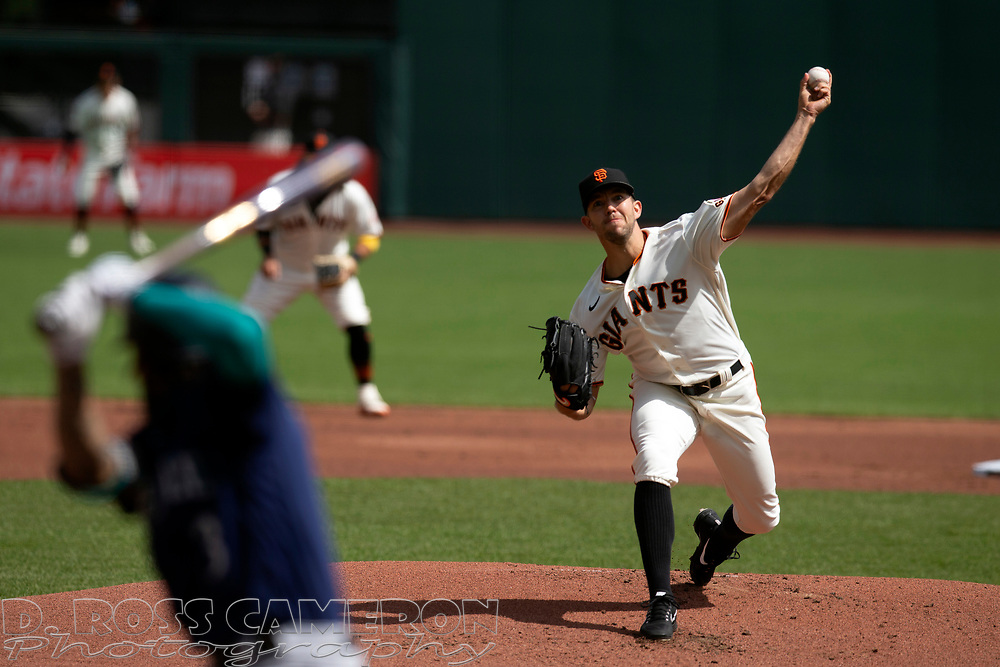 San Francisco Giants starting pitcher Tyler Anderson (31) delivers a pitch against the Seattle Mariners during the first inning of a Major League Baseball game, Thursday, Sept. 17, 2020 in San Francisco. This is a makeup of a postponed game from Wednesday in Seattle. (AP Photo/D. Ross Cameron)