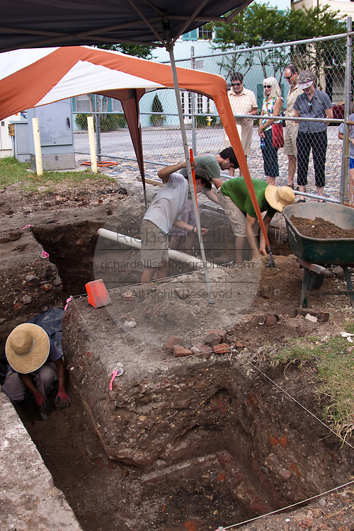 Archeological dig in the historic Battery section of Charleston, South Carolina where the original city wall stood to defend the city.