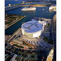 Aerial photo American Airlines Arena on Biscayne Bay in downtown Miami Florida.  Opening week, with Carnival Cruise Lines in turning basin preparing to leave Government Cut.