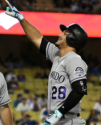 September 7, 2017 - Los Angeles, California, U.S. - Colorado Rockies' Nolan Arenado points to the stands after hitting a three run home run against the Los Angeles Dodgers in the first inning of a Major League baseball game at Dodger Stadium on Thursday, Sept. 07, 2017 in Los Angeles. (Photo by Keith Birmingham, Pasadena Star-News/SCNG) (Credit Image: © San Gabriel Valley Tribune via ZUMA Wire)