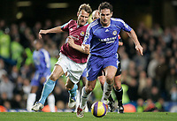 Photo: Marc Atkins.<br />Chelsea v West Ham United. The Barclays Premiership. 18/11/2006. Teddy Sheringham, of West Ham and Frank Lampard of Chelsea  in action.