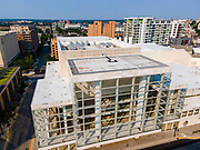 Aerial photograph of the Overture Center, Madison's center for the arts. Madison, Wisconsin, USA.