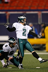 Philadelphia Eagles PK David Akers #2 warms up before the NFL game between the Philadelphia Eagles and the New York Giants on December 13th 2009. The Eagles won 45-38 at Giants Stadium in East Rutherford, New Jersey. (Photo By Brian Garfinkel)