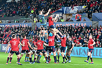 Rugby Union - 2019 / 2020 Champions Cup: Ospreys vs. Munster<br /> <br /> Jean Kleyn of Munster leaps to catch the ball at a lineout, at The Liberty Stadium.<br /> <br /> COLORSPORT/WINSTON BYNORTH