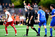 Referee Nick Waldron awards a yellow card, during the ISPS Handa Premiership match between Southern United and the Canterbury United Dragons, held at Logan Park, Dunedin, New Zealand, 25 January 2020. Copyright Image: Joe Allison / www.Photosport.nz