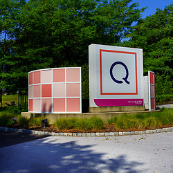 West Chester, PA, USA - August 5, 2020: The entrance sign at QVC Studio Park. QVC channel specializes in televised home shopping. It broadcasts to more than 350 million households in seven countries.