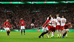 Zlatan Ibrahimovic takes a free kick  - Mandatory by-line: Matt McNulty/JMP - 26/02/2017 - FOOTBALL - Wembley Stadium - London, England - Manchester United v Southampton - EFL Cup Final