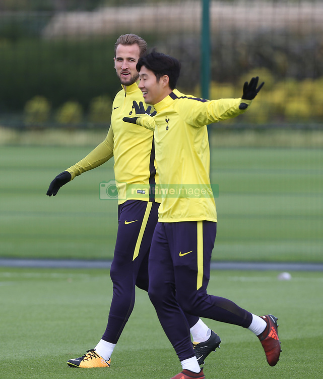 31 October 2017 Enfield: Tottenham Hotspur FC Training : Harry Kane watches Heung-Ming Son run with enthusiasm.<br /> <br /> Photo: Mark Leech