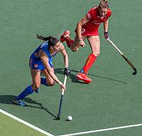 AMSTELVEEN - Malou Pheninckx (Ned) met Stephanie Vanden Borre (Bel)  tijdens  de halve finale dames wedstrijd , Nederland-Belgie (3-1),  bij het EK hockey. Nederland plaatst zich voor de finale.   COPYRIGHT KOEN SUYK