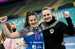 Natasa Ljepoja of Krim celebrate after winning during 1st Leg handball match between RK Krim Mercator (SLO) and CSKA Moscow (RUS) in the Round of 16 of Delo EHF Women's Champions League 2020/21, on March 6, 2021 in Arena Stozice, Ljubljana, Slovenia. Photo by Vid Ponikvar / Sportida
