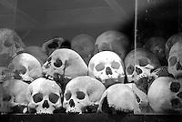 Human Skulls in the memorial stupa at Choeung Ek, 17 km South of Phnom Penh, Cambodia
