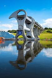 View of Falkirk Wheel ship lift connecting Forth and Clyde Canal with Union Canal in Scotland, United Kingdom