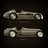 For the lover of old classic cars, this combination of a Alfa Romeo 158 Alfetta 1950 and Alfa Romeo 8c 1935 is truly a beautiful work to have in your home.<br /> The classic Alfa Romeo 158 Alfetta and the beautiful Alfa Romeo 8c are among the most beautiful cars ever built.<br /> You can have this work printed in various materials and without loss of quality in all formats.<br /> For the oldtimer enthusiast, the series by the artist Jan Keteleer is a dream come true. The artist has made a fine selection of the very finest cars which he has meticulously painted down to the smallest detail. –<br /> -<br /> <br /> BUY THIS PRINT AT<br /> <br /> FINE ART AMERICA<br /> ENGLISH<br /> https://janke.pixels.com/featured/alfa-romeo-158-alfetta-1950-and-alfa-romeo-8c-1935-jan-keteleer.html<br /> <br /> WADM / OH MY PRINTS<br /> DUTCH / FRENCH / GERMAN<br /> https://www.werkaandemuur.nl/nl/shopwerk/Alfa-Romeo-158-Alfetta-1950-en-Alfa-Romeo-8c-1935/753865/132?mediumId=1&size=60x60<br /> <br /> –