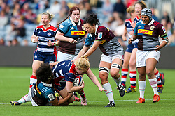 Abbie Parsons of Bristol Ladies is tackled by Shaunagh Brown of Aylesford Bulls - Rogan Thomson/JMP - 23/04/2017 - RUGBY UNION - Sixways Stadium - Worcester, England - Bristol Ladies Rugby v Aylesford Bulls - Women's Premiership Final.