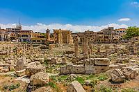romans ruins of  Baalbek in Beeka valley Lebanon Middle east