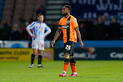 Kazenga LuaLua of Brighton looks dejected as he leaves the field having being shown a red card by referee Gary Sutton - Photo mandatory by-line: Rogan Thomson/JMP - 07966 386802 - 21/10/2014 - SPORT - FOOTBALL - Huddersfield, England - The John Smith's Stadium - Huddersfield Town v Brighton & Hove Albion - Sky Bet Championship.