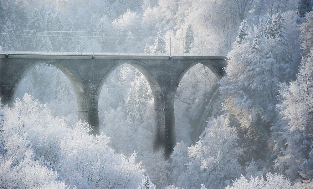 Railway bridge in frosty landscape