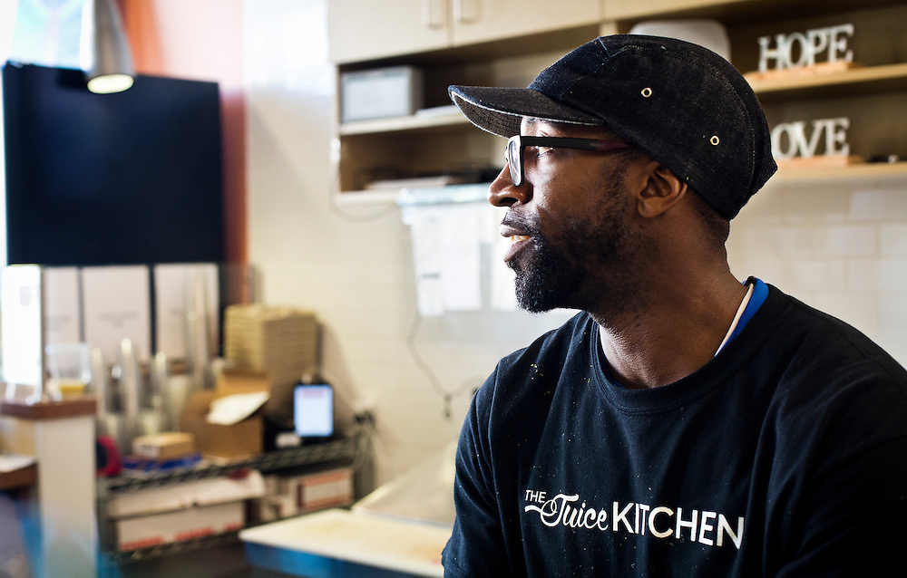 MILWAUKEE, WI - NOVEMBER 17: Maanaan Sabir, owner of The Juice Kitchen, reflects on the outcome of the 2016 Election during an interview on Thursday, November 17, 2016.
