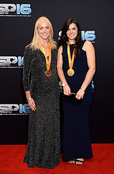 Pamela Relph and Grace Clough during the red carpet arrivals for BBC Sports Personality of the Year 2016 at The Vox at Resorts World Birmingham. Photo credit should read: Doug Peters/EMPICS Entertainment
