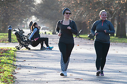 © Licensed to London News Pictures. 08/01/2019. Greenwich, UK. Fitness mums exercising, Winter sunny weather at Greenwich Park,Greenwich today but temperatures at set to plunge. Photo credit: Grant Falvey/LNP