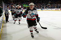 KELOWNA, BC - FEBRUARY 28:   Conner McDonald #7 celebrates a goal with Mark Liwiski #9, Matthew Wedman #20,  Kaedan Korczak #6 and Kyle Topping #24 of the Kelowna Rockets against the Everett Silvertips at Prospera Place on February 28, 2020 in Kelowna, Canada. (Photo by Marissa Baecker/Shoot the Breeze)