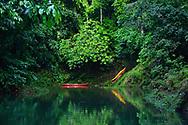 Kayaks in the Rio Agujitas near Punta Rio Claro National Wildlife Refuge, Costa Rica.