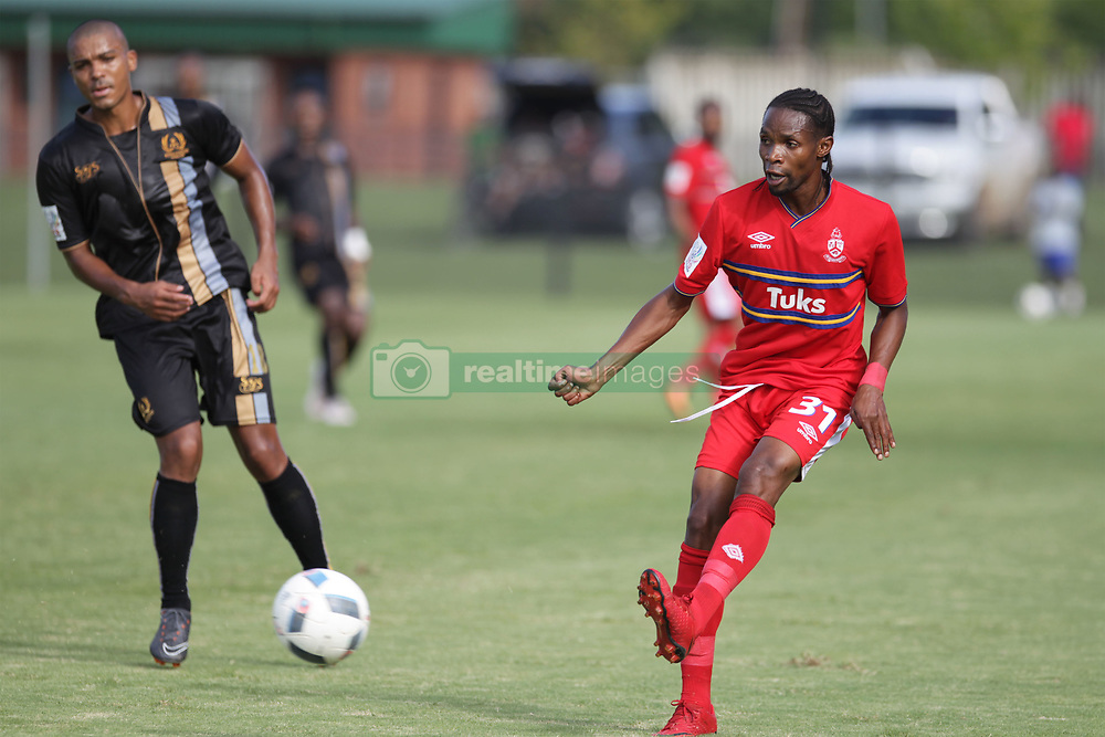 01042018 (Pietermaritzburg) Davies Nkausu plays with a ball when Royal Eagles played a nil draw against the university of Pretoria yesterday At Harry Gwala stadium.Picture: Motshwari Mofokeng