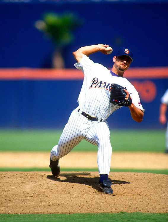 SAN DIEGO - 1995:  Trevor Hoffman of the San Diego Padres  pitches during an MLB game at Jack Murphy Stadium in San Diego, California.  Hoffman pitched for the Padres from 1993-2008. (Photo by Ron Vesely)